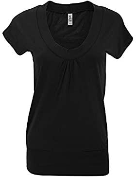 Bella + Canvas- Camiseta de manga corta lisa Dolman para mujer
