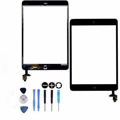 Hedywei für iPad Mini 1 2 Touchscreen Digitizer Ersatz Glas Display Bildschirm mit IC Chip Home Button und Werkzeug (Schwarz) (Ipad 1 Digitizer)