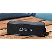 Anker SoundCore Portable Bluetooth 4.0 Stereo Speaker with 24-Hour Playtime, 6W Dual-Driver, Low Harmonic Distortion, Patented Bass Port and Built-in Microphone for Calls for iPhone, iPod, iPad, Samsung, LG and others (Certified Refurbished)