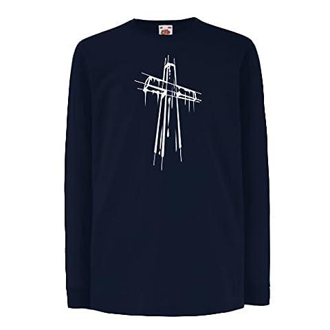 Kinder-T-Shirt mit langen Ärmeln Beunruhigtes Kreuz - Eeligiöse Geschenke, Christliches