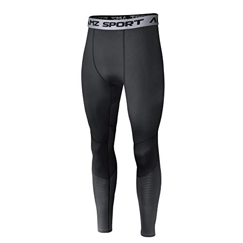 AMZSPORT Herren Sport Kompressionshose Laufhose Baselayer Leggings Trainingshose - Schwarz XXL