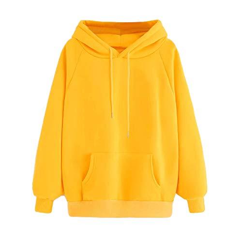 OMYGOA 2019 Frauen Frühjahr und Herbst Trend Langarm-Hoodie-Sweatshirt mit Kapuze einfachen monochromen Pullover(Gelb,Medium)