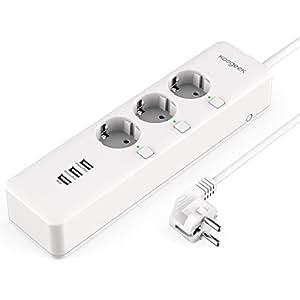 Multipresa Ciabatta Intelligente Wifi Koogeek 3 Presa 3 Porte USB Compatibile con Apple HomeKit, Alexa e Google Assistant Controllo Remoto per Android IOS 3000W 12A Certificazione CE