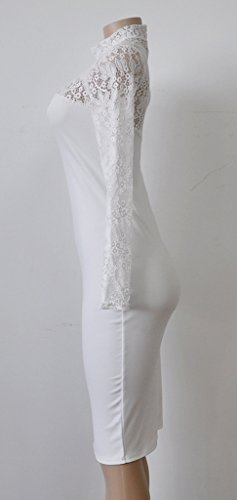 Smile YKK Hollow-out Dentelle Robe Manche Longue See-through Uni Slim Blanc