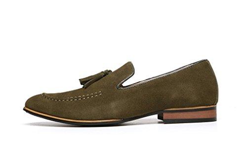 Herren Veloursleder Designer Schuhe Smart Kleid Ohne Bügel Troddel Formelle Slipper Freizeit Größe EU Khaki
