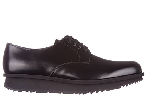 Prada men's classic leather lace up laced formal shoes spazzolato rois derby bla