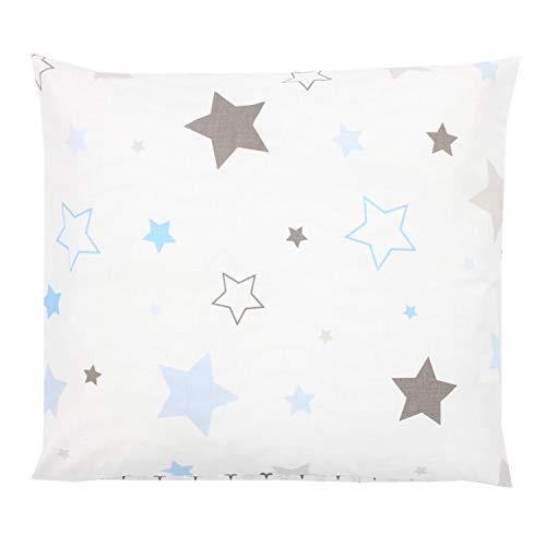 TupTam Kinder Kissenbezug Dekorativ Gemustert, Farbe: Sterne Grau/Blau, Größe: 40 x 60 cm
