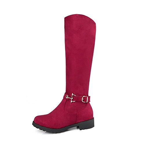 VogueZone009 Damen Mattglasbirne Reißverschluss Niedriger Absatz Mitte-Spitze Stiefel Rot