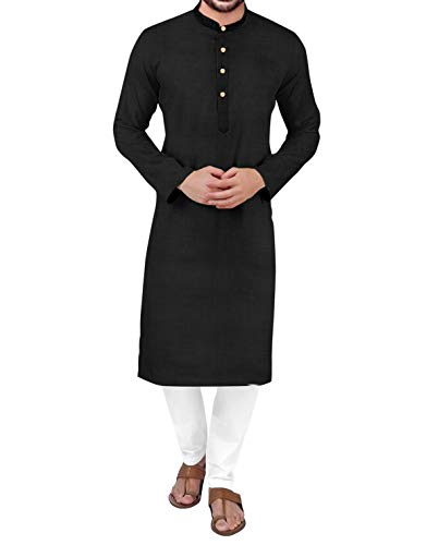 PARALLEL TIMES Men's Cotton Traditional Cotton Kurta Black