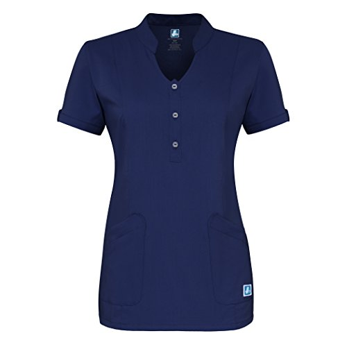 Adar Indulgenc Jr Fit Damen Schlüsselloch Scrub Top Gr. XX-Small, navy (Blaue Uniform Navy Arbeiten)