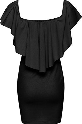 WEARALL Damen Weg Schulter Mini Kleid Damen Schößchen Rüsche Bodycon Kurz Strecke - 36-42 Schwarz