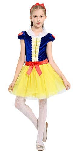 Cloud Kids Mädchen Ballkostüm Cosplay Kostüm Halloween Prinzessin Kleid Karneval Verkleidung Outfit Gelb Körpergröße 130-140cm