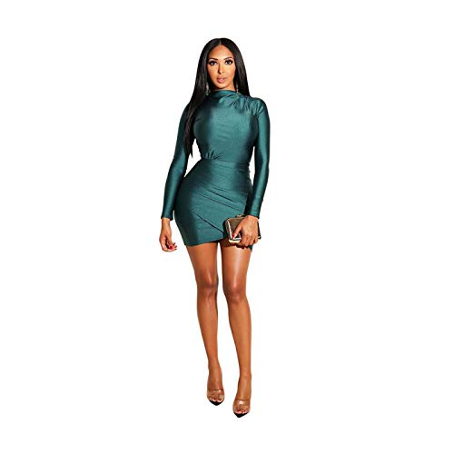 Women's Elegant Long Sleeve Solid Color Draped Bodycon Clubwear Party Mini Dress Green S - Zip Knee High Boot
