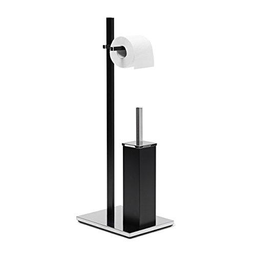 Relaxdays WC-Garnitur matt H x B x T: ca. 73 x 21,5 x 27,5 cm eckige WC Standgarnitur im modernen Design mit Toilettenpapierhalter und WC-Bürste im hygienischen Kunststoffbehälter, schwarz