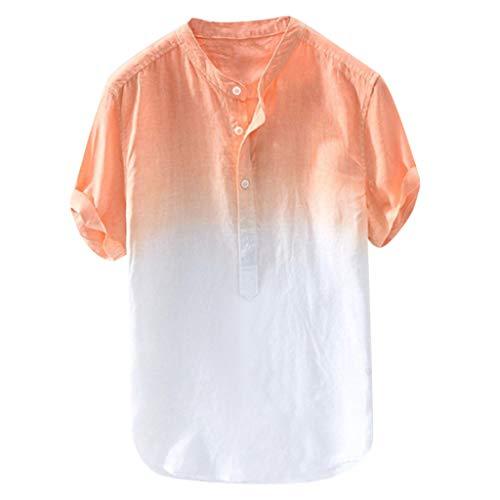 ommer Herren Cool Und DüNn Baumwollhemd Atmungsaktiv Kragen HäNgen GefäRbt Farbverlauf (X-Large,Orange) ()
