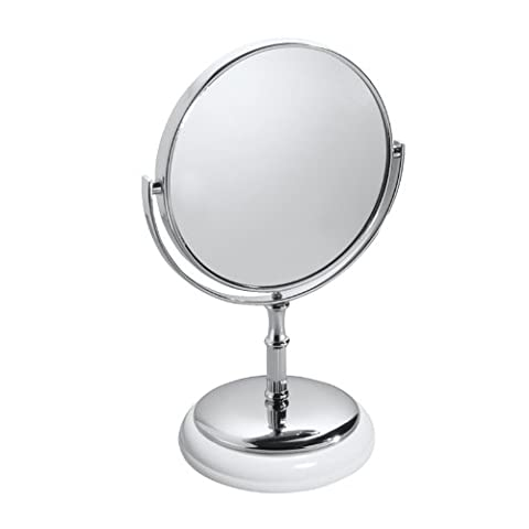 mDesign Free Standing Vanity Makeup Mirror for Bathroom Countertops - White/Chrome