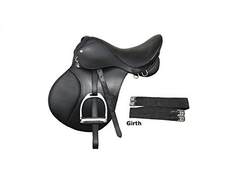 Skora 18″ Inch Leather English Saddle Set Suitable For 75 To 95 Kg Person – Black