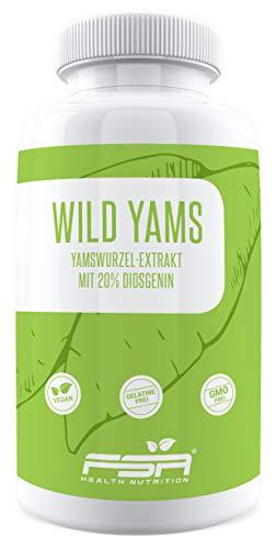 Yamswurzel Extrakt (Wild Yams) 180 Kapseln, 500 mg pro Kapsel, 20% Diosgenin, Vegan - Made in Germany - FSA Nutrition