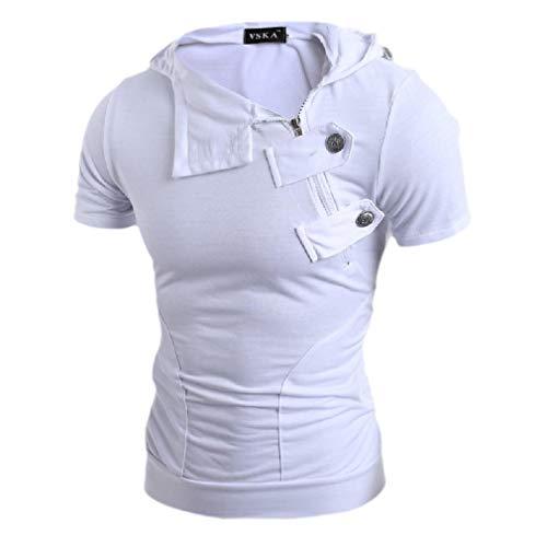 Toddler Full Zip Hoodie (CuteRose Men Hoodie Short-Sleeve Casual Solid Slim Fit Summer Tracksuit White S)