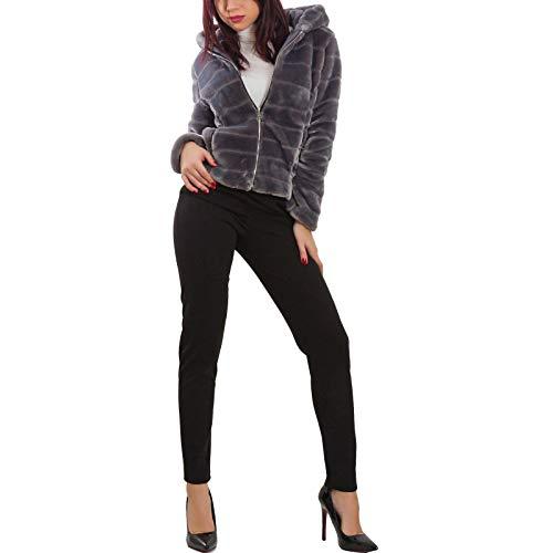 Toocool - pelliccia donna ecologica cappuccio zip cerniera eco giubbotto giacca vb-7657 [s,grigio]
