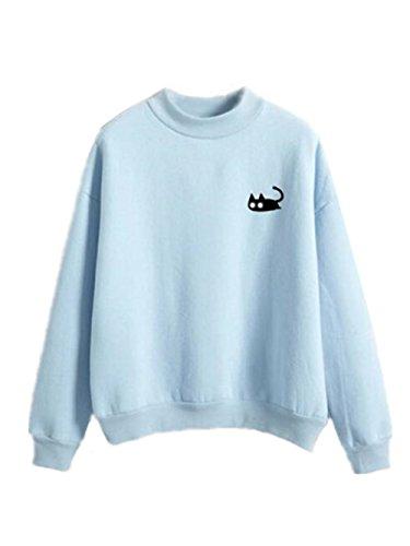 AILIENT Femme Chat Imprimé Classique Sweatshirt Manches Longues Col Rond Tops à Sweats Mode Pullover Décontractée blue