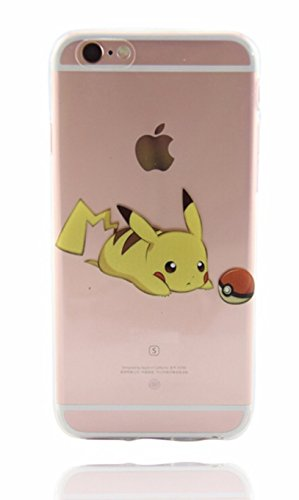 Phone Kandy® Claro TPU Transparente Funda de silicona ultra fina y protector de la pantalla carcasa funda (Pikachu #1, iPhone 5 5s SE)