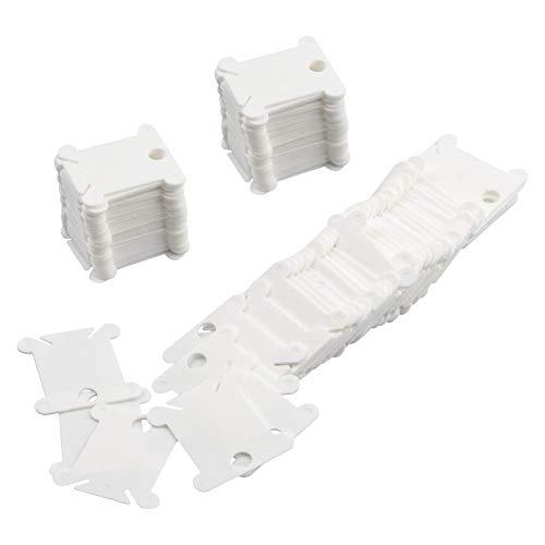 Weanty 100 bobinas de hilo de plástico en blanco de cartón, bobinas de hilo de algodón bordado, organizador de línea de pesca