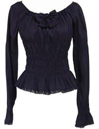 an tai na  Negra Algodón Volantes Encaje Bow Kawaii Vintage Victoriana  Lolita Camisa d71a14770ed