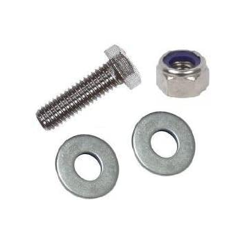 5mm Metric Thread Bolt with Nut & Washers (4 Pack) M5 X 10mm Hexagon Head Bolts (Fully Threaded), 8 Flat Washers & 4 Nyloc Nuts. A2 Stainless Steel. Free UK Delivery
