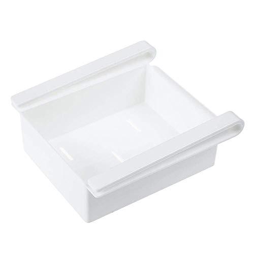 Food Storage Organizer (E-CHENG Fridge Storage Box Sliding Drawer Food Container Fresh Food Pull-Out Organizer Space Saver Shelf for Refrigerator, Table (White))