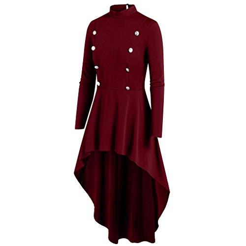 Femmes Manteau Vintage Steampunk Long Bouton Pardessus Gothique Dames Veste rétro Manteaux Hiver Veste à Capuche Sweatshirt Pullover Casual Hoodie Parka Rembourré Robe