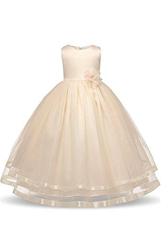 YMING Mädchen Kleider Armelos Brautjungfern Kleider Hochzeit Party Festliches Prinzessin Kleid,Elfenbein,10-11 Jahre Alt