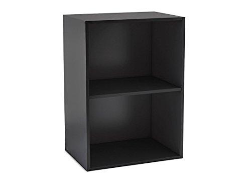 habeig Tube Bücherregal Standregal 2 Fächer Belastung Regalboden 30kg Standregal (Schwarz) (Bücherregal 2 Schwarz Regal)