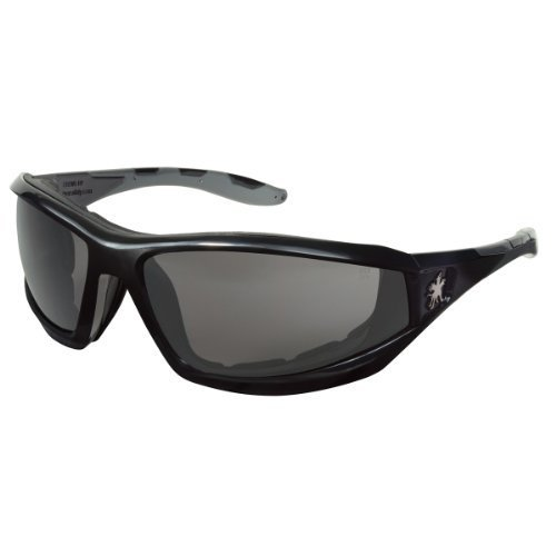 Crews Reaper Regular Safety Glasses With Black Polycarbonate Frame, Gray Polycarbonate Duramass Anti-Fog Anti-Scratch Lens And Gray Temple Sleeve And Removable Foam Gasket by Crews Safety Products (Lens Sleeve)
