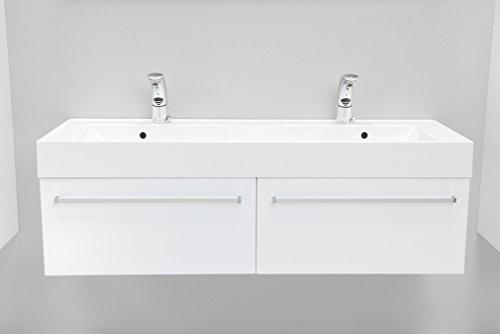 Quentis Doppelwaschplatz Aruva, Breite 140 cm, Waschplatzset 3-teilig, Waschbeckenunterbau mit zwei Schubladen, Front und Korpus weiß glänzend - 2