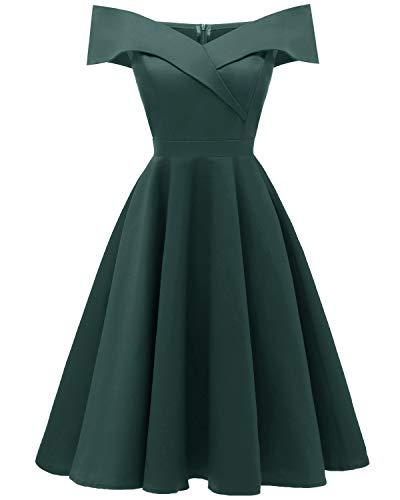 Viloree 50s Rockabilly Damen Kleid Baumwolle Schulterfrei Swing Party festlich Dunkelgrün 2XL