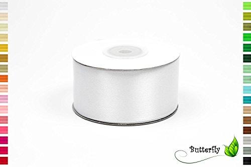 Creativery 25m Rolle Satinband 38mm (weiß 029)//Schleifenband Satin Deko Band Dekoband Geschenkband Dekoration Hochzeit Taufe Geburtstag 4cm