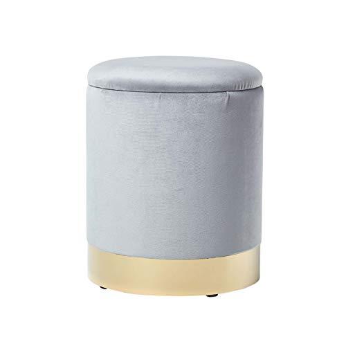 Homescapes Samt Sitzhocker mit Stauraum, Fußhocker Aufbewahrungsbox mit Deckel, runder Sitz Pouf,...