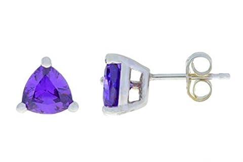 2 Ct Amethyst CZ Trillion Stud Earrings .925 Sterling Silver