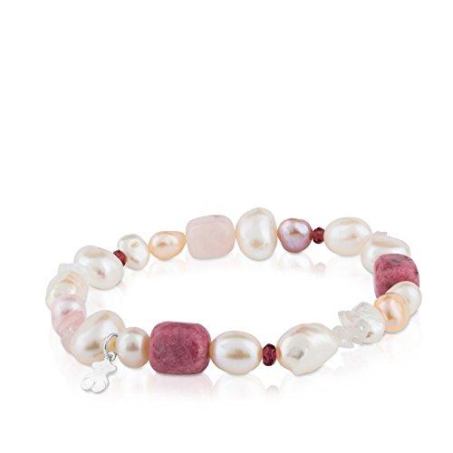 Pulsera TOUS Pearls en plata de primera ley, perlas, granates y rodocrositas, Varias gemas, Longitud 17,5 cm