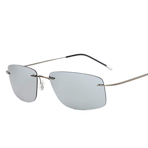 Rahmenlose Pure Titanium Light Square Driving Mirror Polarisierte Sonnenbrille Silbergrau