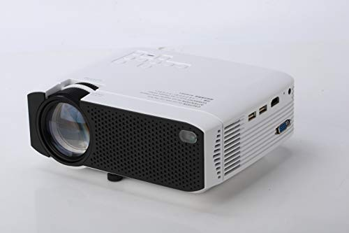 Mini proiettore con 50.000 ore e 3500 Lumen LED, video Full HD 1080P con doppio altoparlante incorporato per HDMI, VGA, PS4, TF, AV, laptop, telefono (e400)