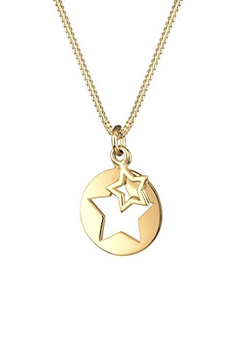 Elli Damen Halskette mit Stern Cut-out Astro Trend in 925er Sterling Silber vergoldet 45 cm Länge