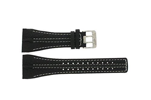 Police Uhrenarmband 10811JS-02 Leder Schwarz 32mm + weiße nähte (NUR UHRENARMBAND - UR NICHT INBEGRI