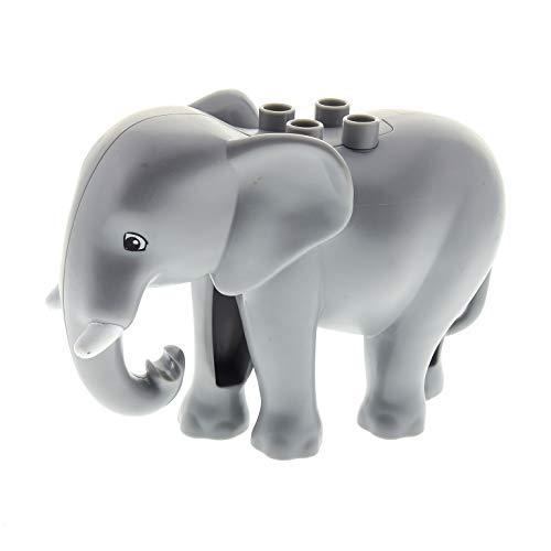 LEGO 1 x Duplo Tier Elefant neu-hell grau groß Ohren Neuer Typ Stoßzahn Zoo Tierpark Safari Zirkus 5634 10804 45012 4583385 eleph3c01pb01