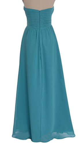 MACloth Women Strapless Long Chiffon Bridesmaid Dress Wedding Evening Party Gown Ivoire