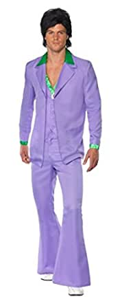 Smiffy's Lavender 1970's Suit Costume Jacket with Mock Shirt and Waistcoat and Trousers - Medium