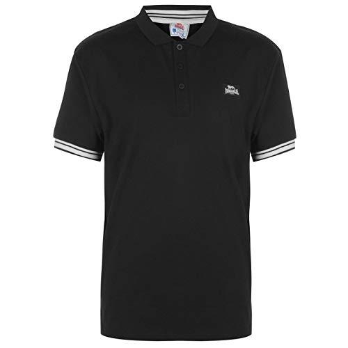 Lonsdale Herren Jersey Polo Shirt Klassische Passform Schwarz/weiß M -