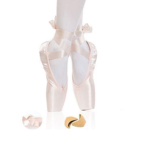 Chinashow Mädchen Satin Ballettschuhe - Profeesional Womens Butterfly Print Tanzschuhe Flats Tanzschuhe Yoga Schuhe mit Schwamm Zehenschutz rosa (Butterfly-schuhe Für Kinder)