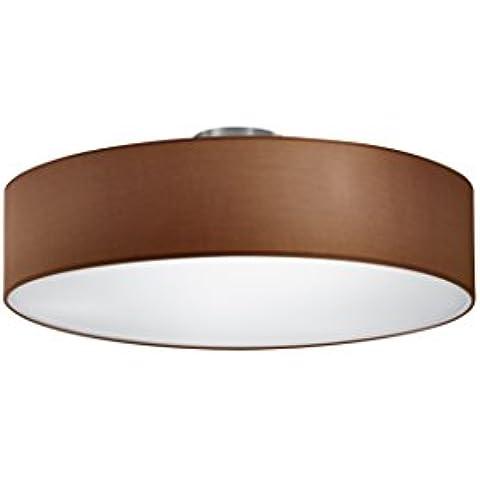 Trio - Plafón con 3 luces, E27, pantalla de algodón marrón, diámetro 50 cm, color marrón